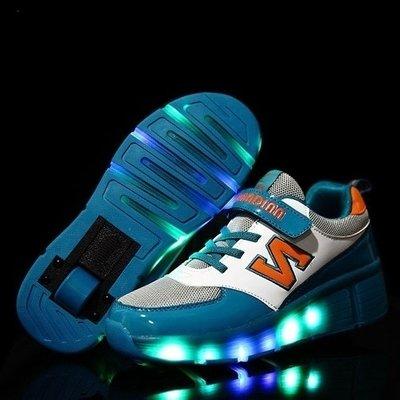 Lichtgevende schoenen met wieltjes groen/oranje