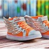 Ledschoenen 'Wings' fluor oranje/zilver Maat 25_