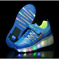 B-keus: Maat 33: schoenen met wieltjes blauw