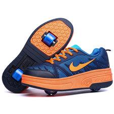 Schoenen met 4 wieltjes d.blauw (mt 29-35)