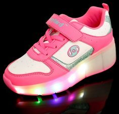B-keus, Maat 34: schoen met wieltjes easy pink
