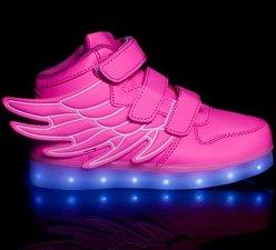 Ledschoenen 'Wings' roze Maat 25