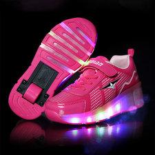 Schoenen met wieltjes sporty pink