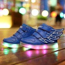 Ledschoenen Wings blauw, maat 35