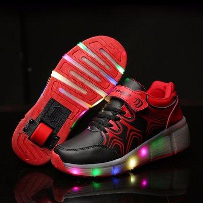 Simulation schoenen op wielen zwart/rood