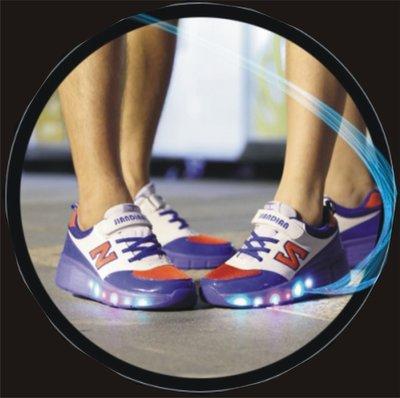 Lichtgevende schoenen met wieltjes wit, blauw, rood