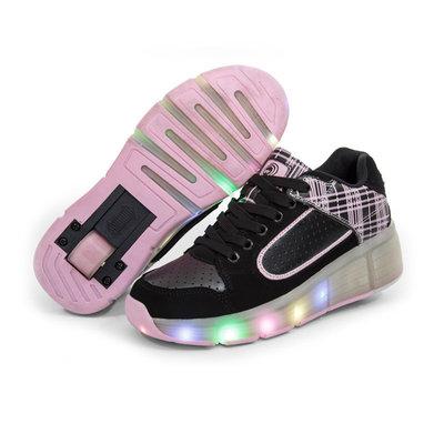 Wiel schoenen skate (zwart/roze)
