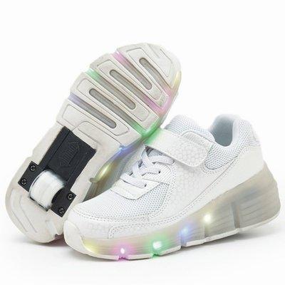 Ledschoenen met wieltjes wit