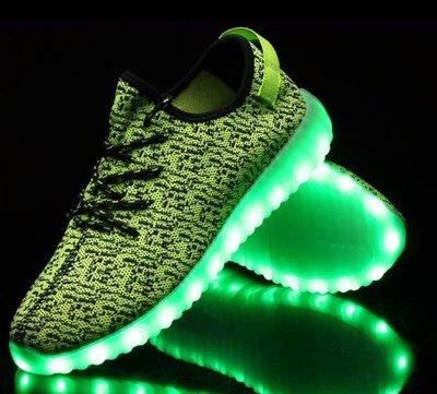 Led schoenen trendy lime/zwart