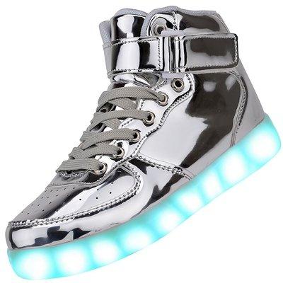 Hoge schoenen met lichtjes zilver