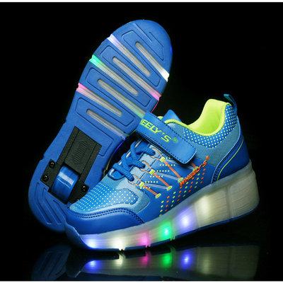 Verlichte schoenen met wieltjes blauw