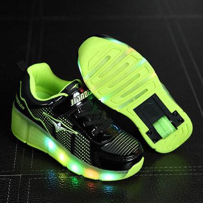 Rolschoenen met lichtjes sporty black